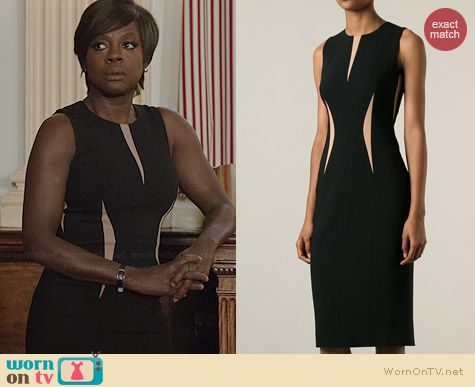 7eb723c8e4cc Annalise's black contrast panel dress on How to Get Away with Murder. Outfit  Details: