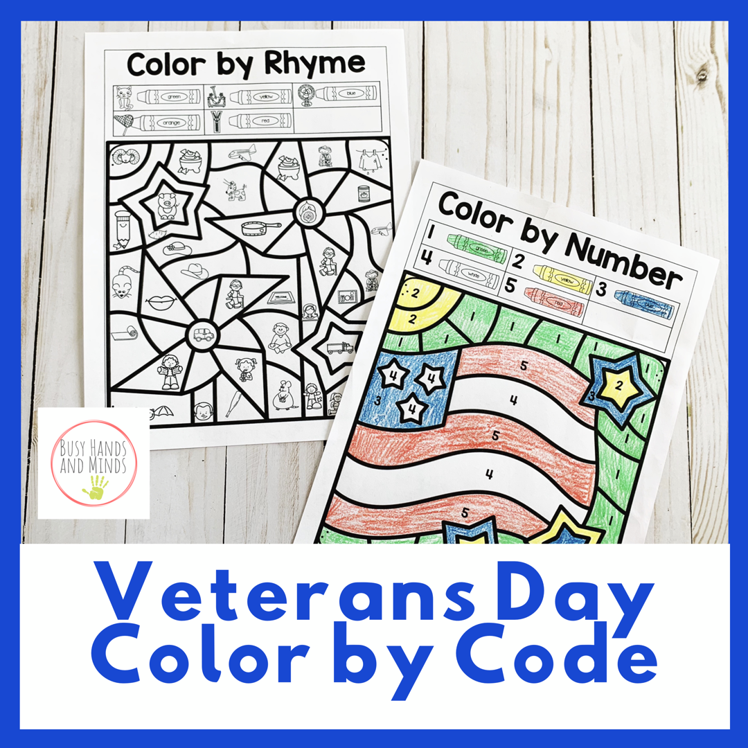 Veterans Day Color By Code For Preschool