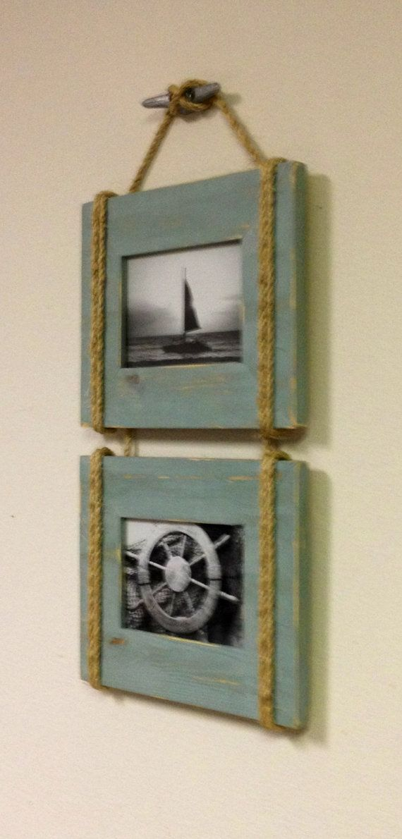 Shabby Chic Nautical Beach cottage DOUBLE 5X7 Rope Boat cleat ...