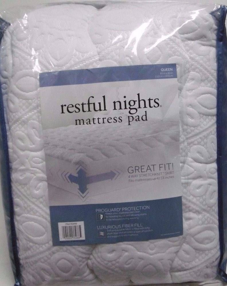restful nights mattress pad RESTFUL NIGHTS MATTRESS PAD 4 WAY STRETCH FITS UP TO 18  restful nights mattress pad