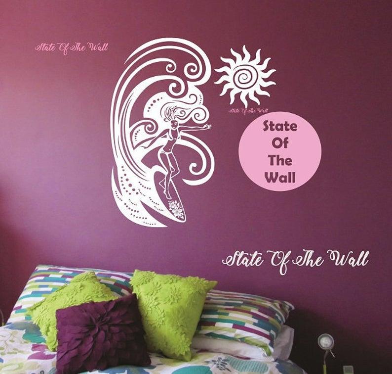 Surfing girl Wall Decal Sticker Art Decor Bedroom Design Mural interior design beach waves ocean  Surf Girl VERSION 2 Hula Hawaii Vinyl #surfgirls