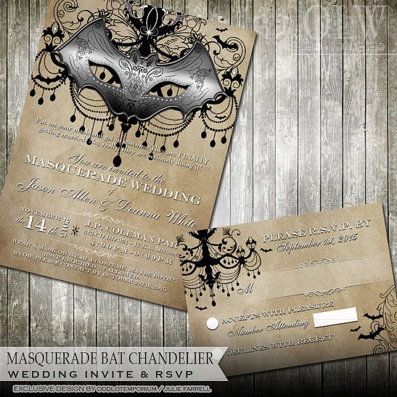 Masquerade Wedding Invitations: Masquerade Wedding Invitation DIY Digital By