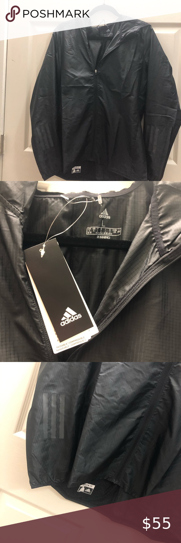Adidas Large Pack It Rain Men Jacket Winter Hooded