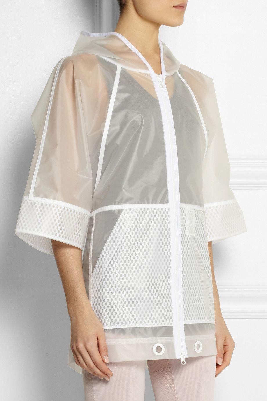 Adidas by Stella McCartney|Hooded vinyl and mesh jacket|NET-A-PORTER.COM