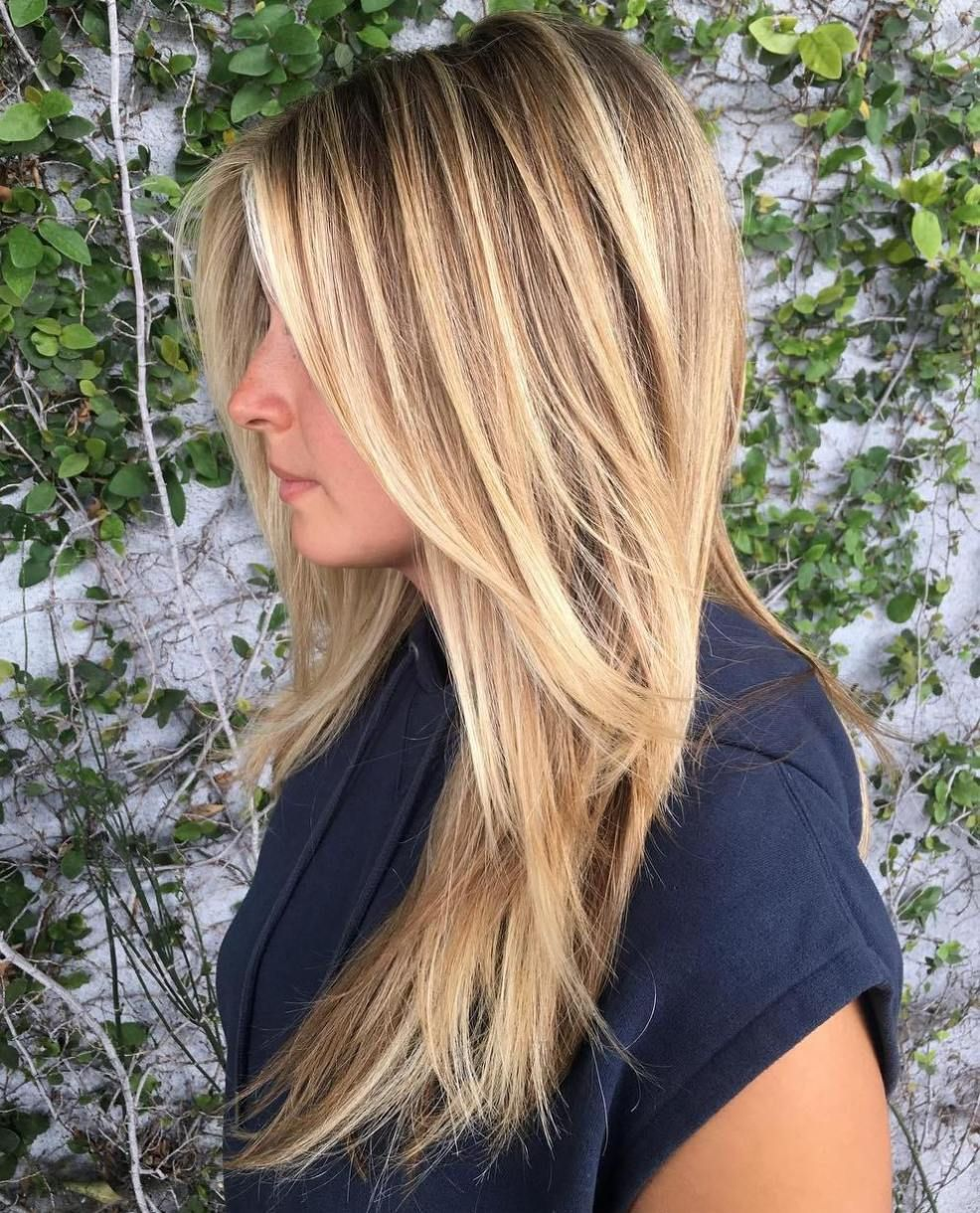 Caramel Blonde Straight Layered Hairstyle Long Thin Hair Haircuts For Fine Hair Long Fine Hair