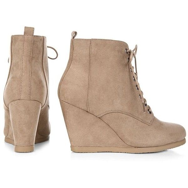 b86ee5293f9 Light Brown Lace Up Wedge Boots ($38) ❤ liked on Polyvore featuring shoes,  boots, ankle booties, round toe booties, lace up booties, laced booties, ...