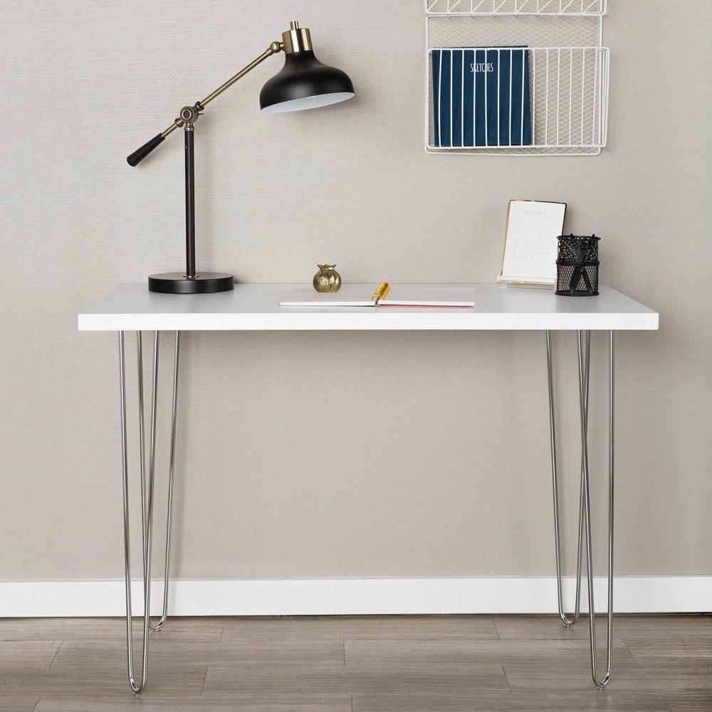 42 Hairpin Leg Writing Desk White Saracina Home In 2020 Wood Writing Desk Saracina Home White Desks