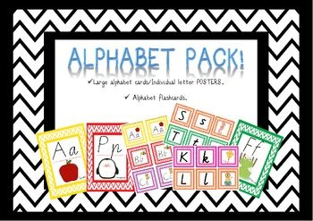 Alphabet Flash Cards Posters Victorian Modern Cursive Vic Modern