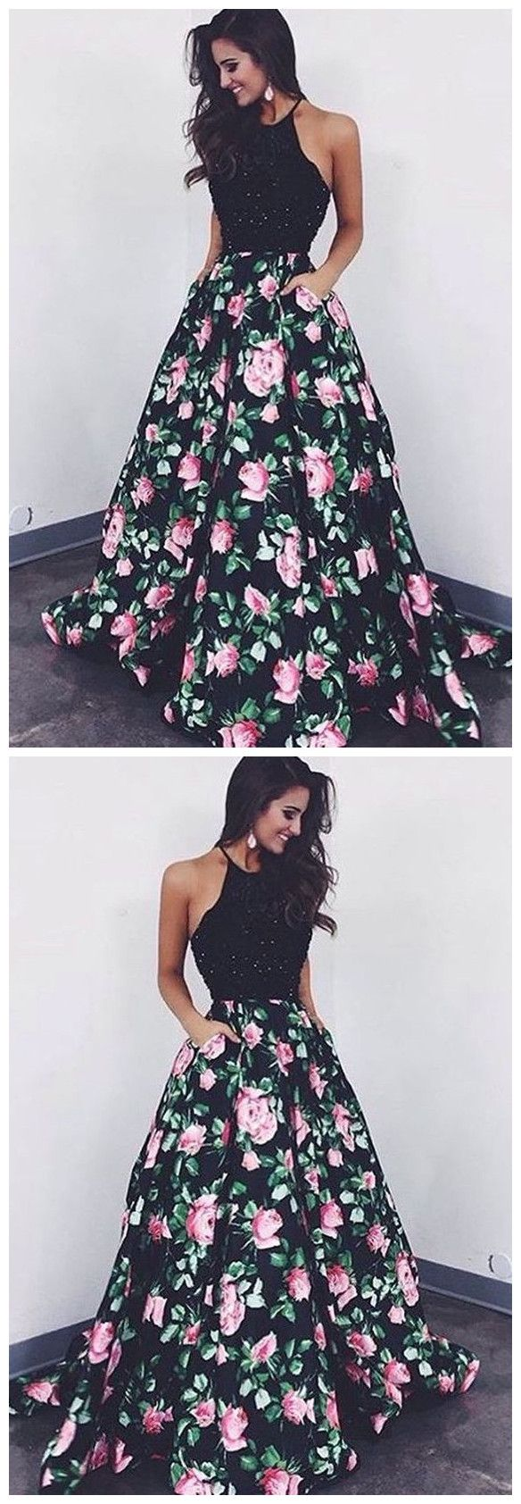 Ball gown prom dress fashion flower print party dress p