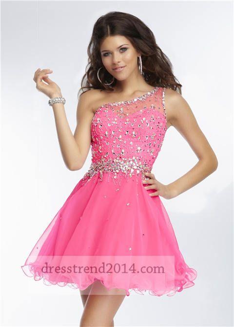 Neon Pink Embellished One Shoulder Cocktail Dresses | Prom ...