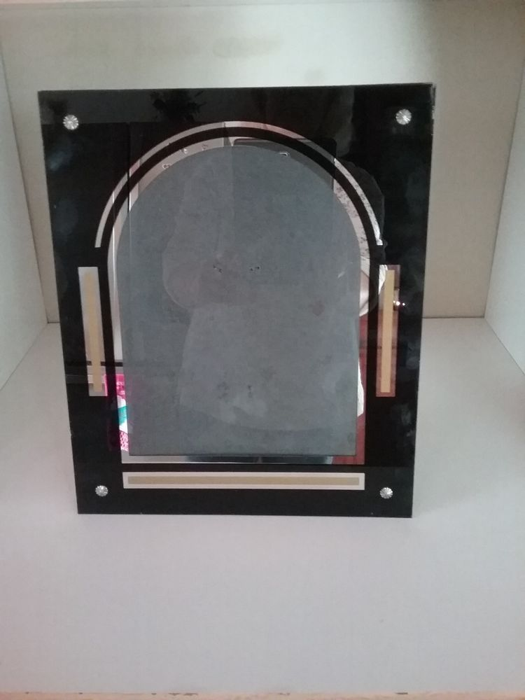 Vintage Art Deco Reverse Painted Picture Frame Black Gold And