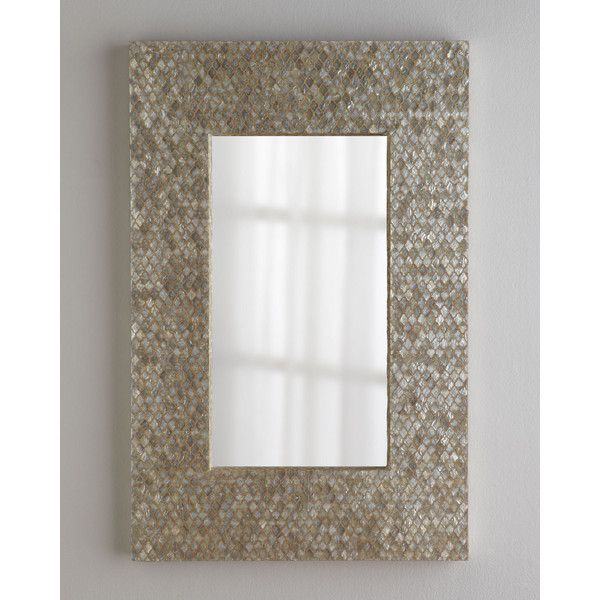 Diamond-Motif Capiz Mirror ($550) ❤ liked on Polyvore