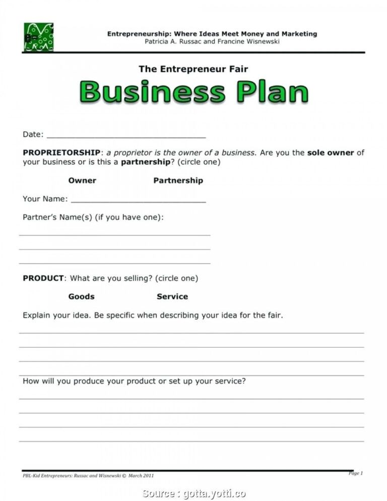 014 20Free One Page Business Plan Template Examples Pdf
