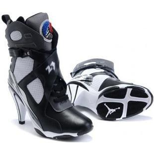 Girls Air Jordan 8 High Heel Black White Shoes