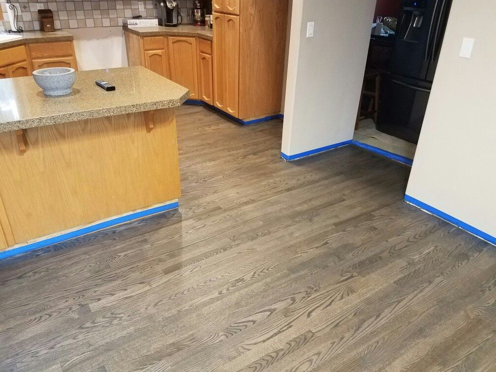 2 1 4 red oak hardwood stained with bona drifast for Hardwood floors vancouver wa