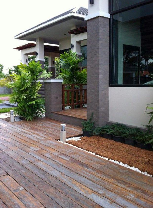 พื้นทางเดินหน้าบ้าน วัสดุไม้ Home Home Decor One