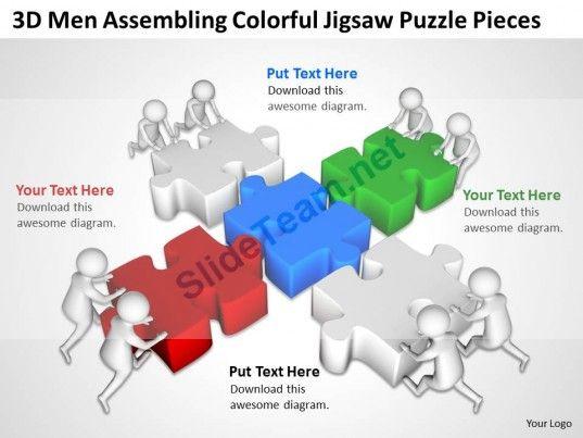 3d Men Assembling Colorful Jigsaw Puzzle Pieces Ppt Graphics Icons