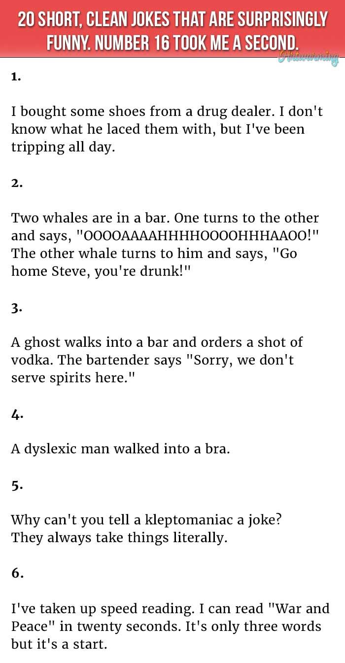 20 Short Clean Jokes That Are Surprisingly Hilarious Short Jokes Funny Clean Funny Jokes Some Funny Jokes