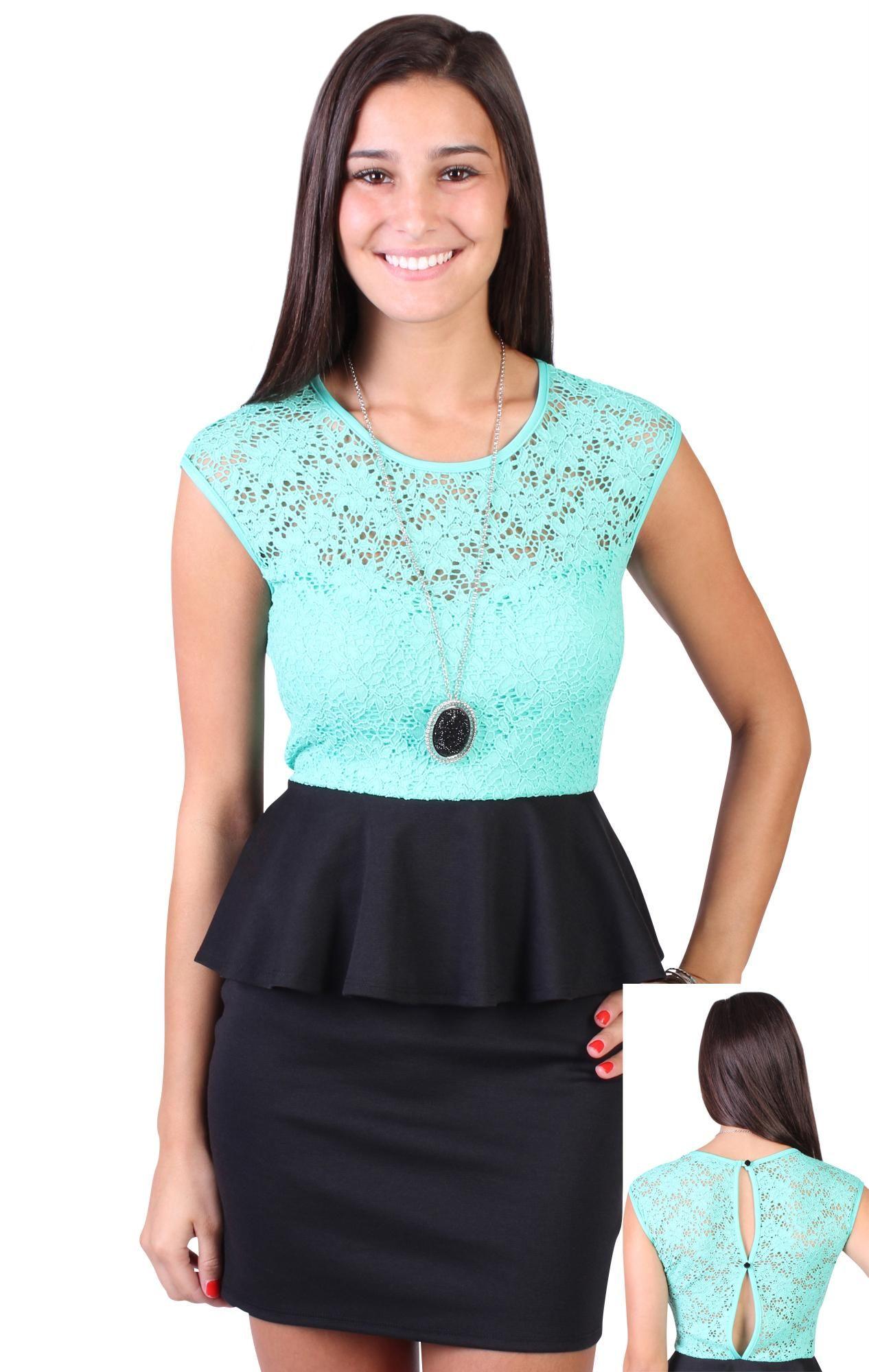 sweetheart illusion lace contrast peplum dress