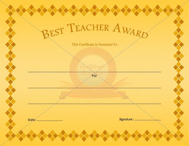 Best Teacher Award School Certificate Templates