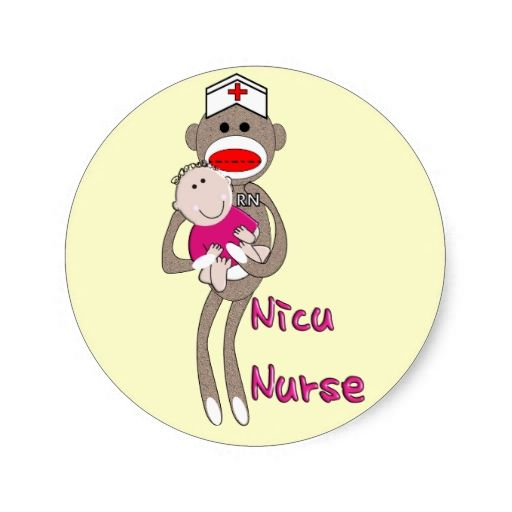 Shop nicu nurse sock monkey design gifts classic round sticker created by professionaldesigns