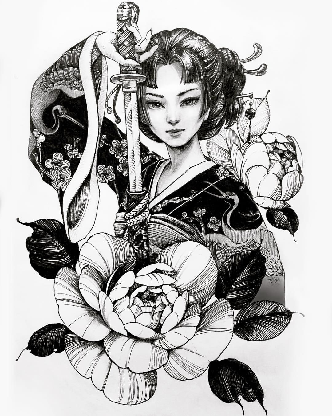 Chronic Ink tattoo Cindy asian-style tattoo warrior geisha