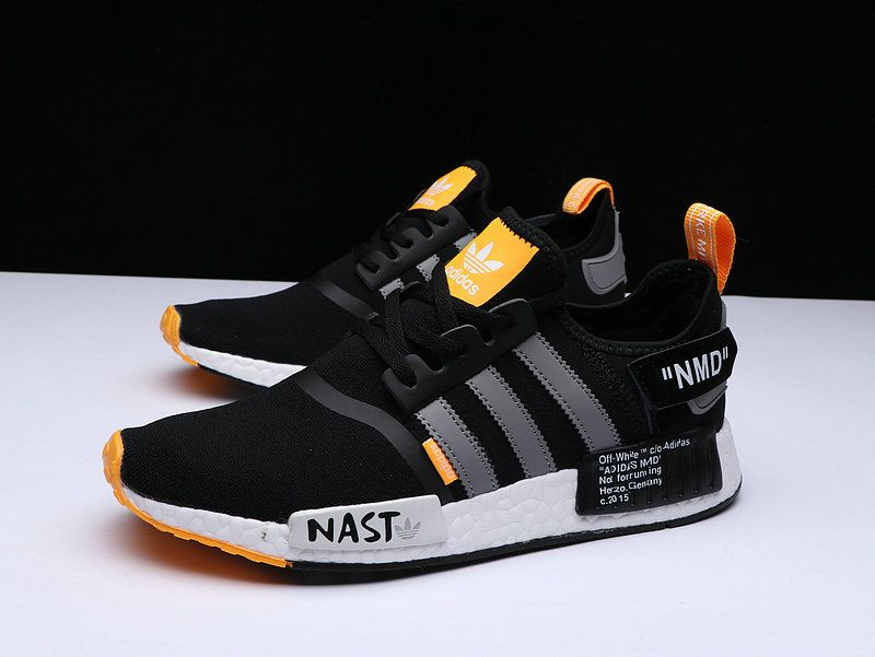 7c367248d12c Factory Authentic Unisex OFF WHITE X Adidas NMD R1 PK Black Orange Grey  White