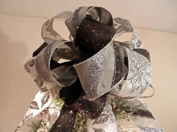 Lg Xmas Tree topper bow 3 ribbons white w/ by creativelycarole