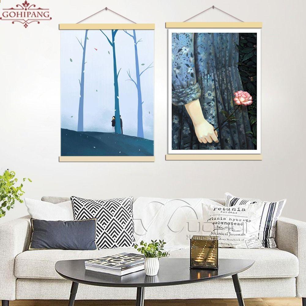 Gohipang Gerahmte Moderne Leinwand Malerei Drucken Poster Unauslässig Erste  Liebe Cartoon Wandkunst Leinwand Bilder Wohnzimmer Decor