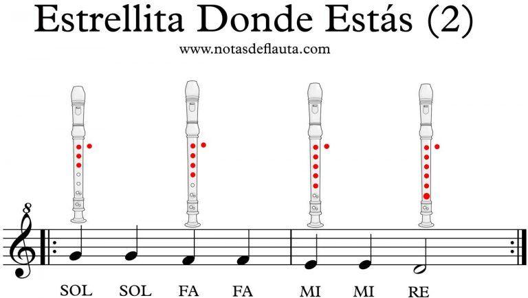 Estrellita Donde Estás En Flauta Aprende Aquí Las Notas Flauta Notas Musicales En Flauta Partitura Flauta