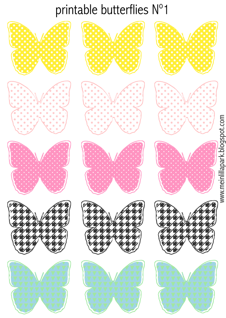 free printable pastel colored butterflies - schmetterling