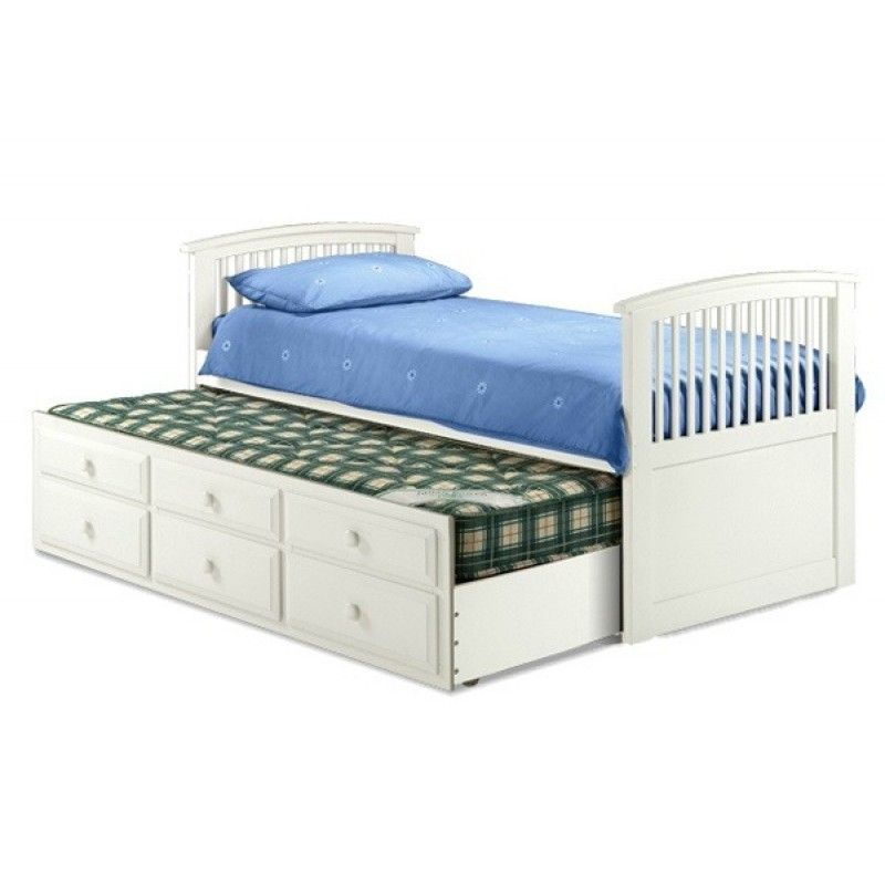 Hornblower Stone White Single Bed U0026 Trundle Pull Out Bed With Drawers