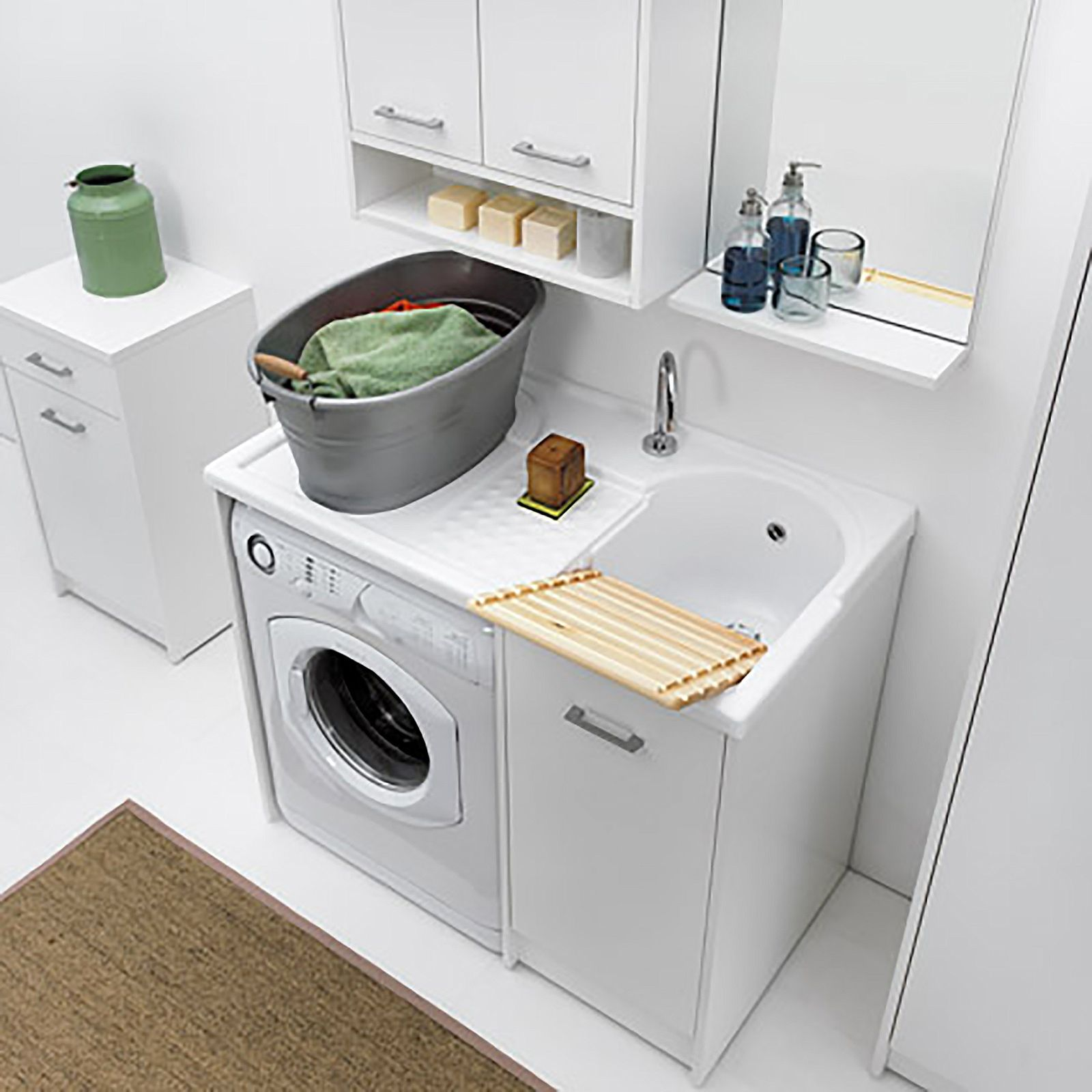 Lavatoio Per Bagno Lavanderia lavatoio coprilavatrice domestica con vasca dx e mobiletto
