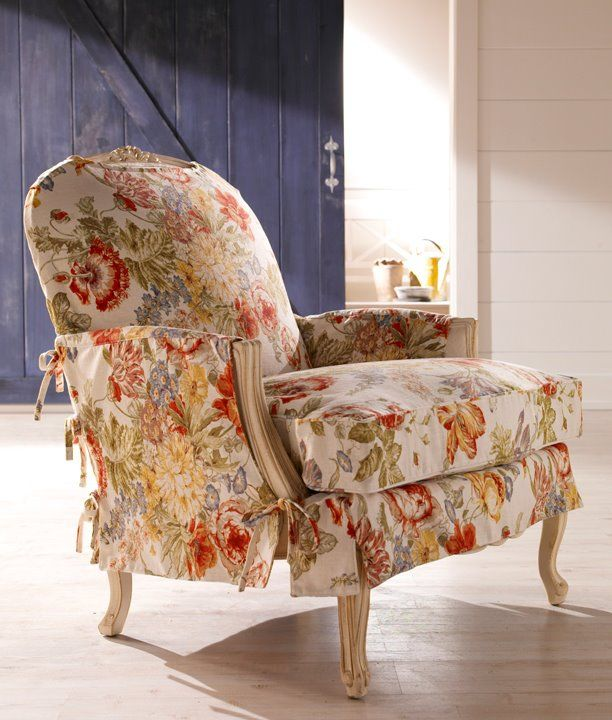 Ethan Allen Floral Slip Cover Chair