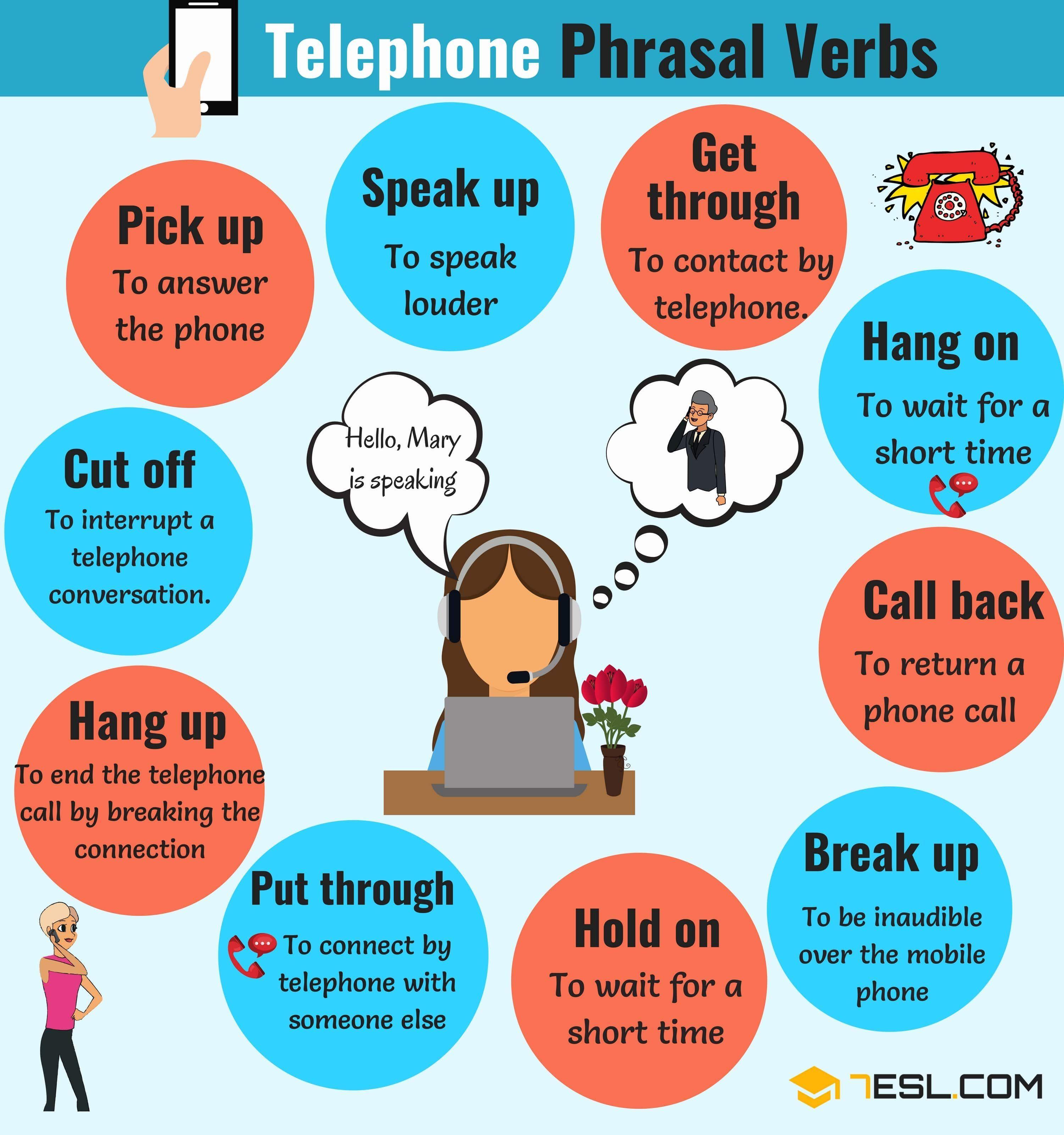 Useful Telephone Phrasal Verbs In English Learn English English Verbs English Phrases [ 3200 x 3000 Pixel ]