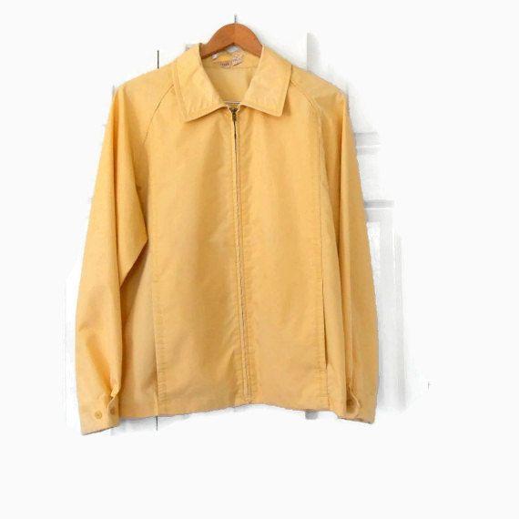 60s 70s Vintage Mens Jacket London Fog Butter Yellow Windbreaker ...