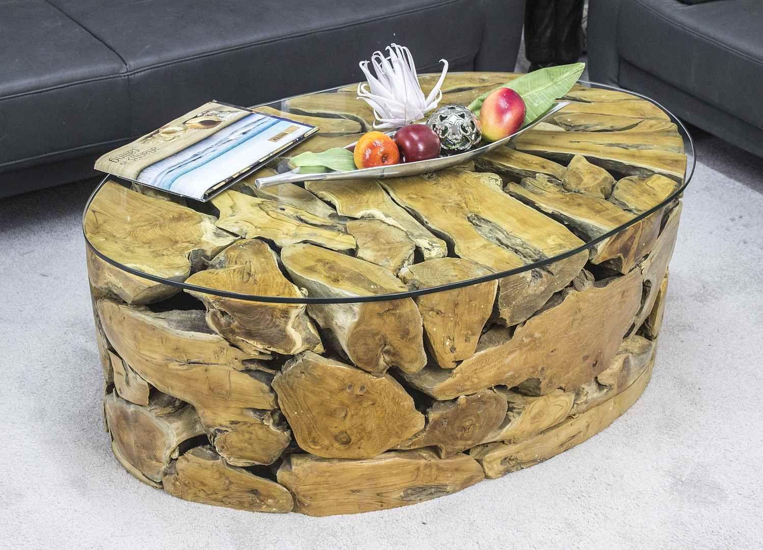 tisch couchtisch oval aus recyceltem rustikalen teak wurzelholz 110 x 75 cm mit glasplatte. Black Bedroom Furniture Sets. Home Design Ideas