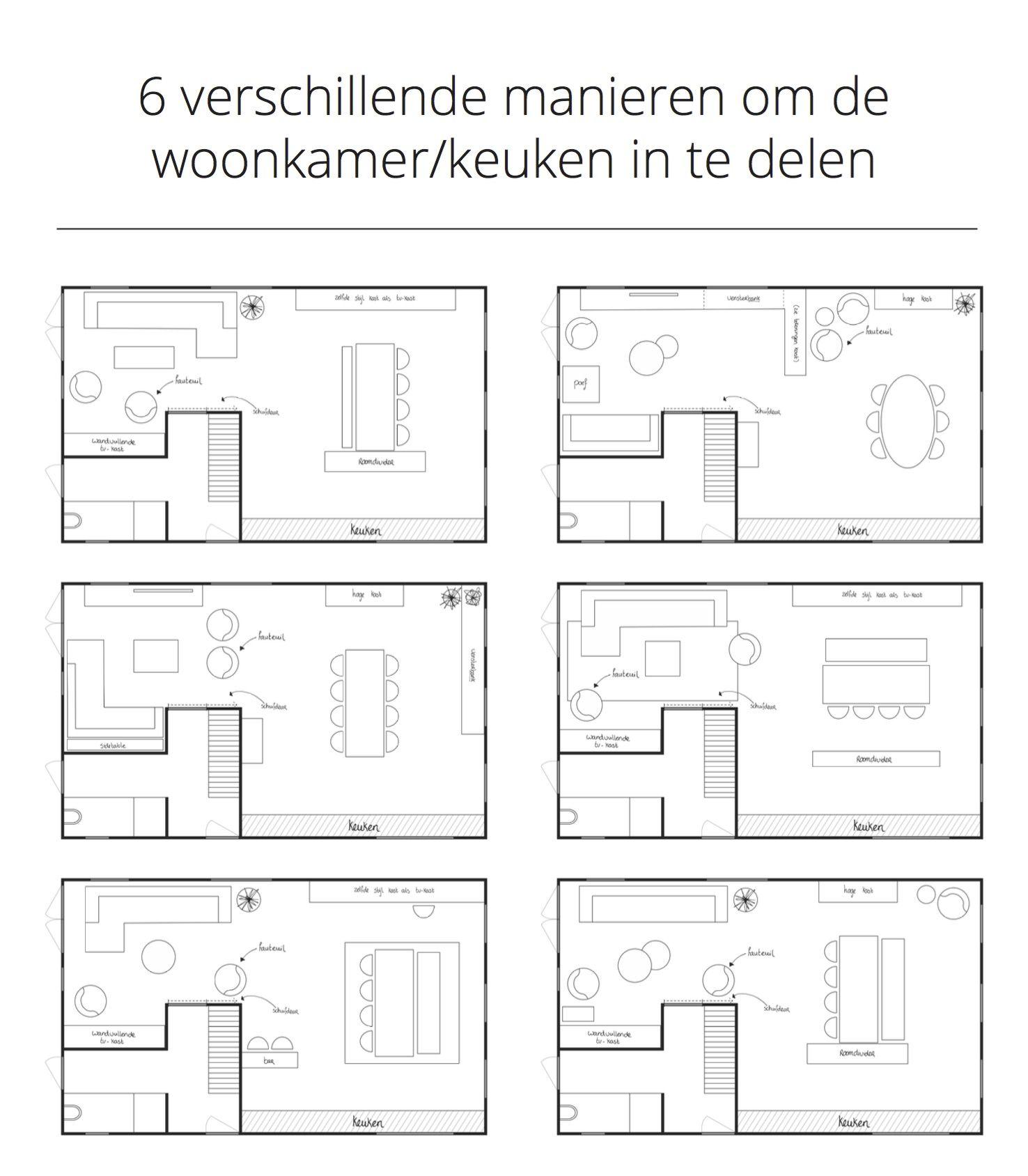 Plattegronden | 6 verschillende manieren om de woonkamer/keuken in ...
