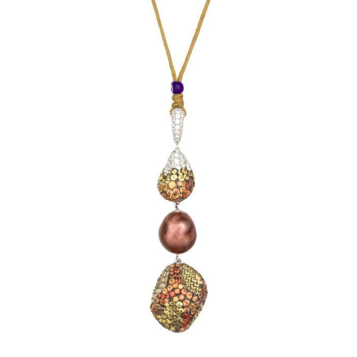 Salavetti 18K White Gold, Diamond, Pearl Sapphire Pendant (=)