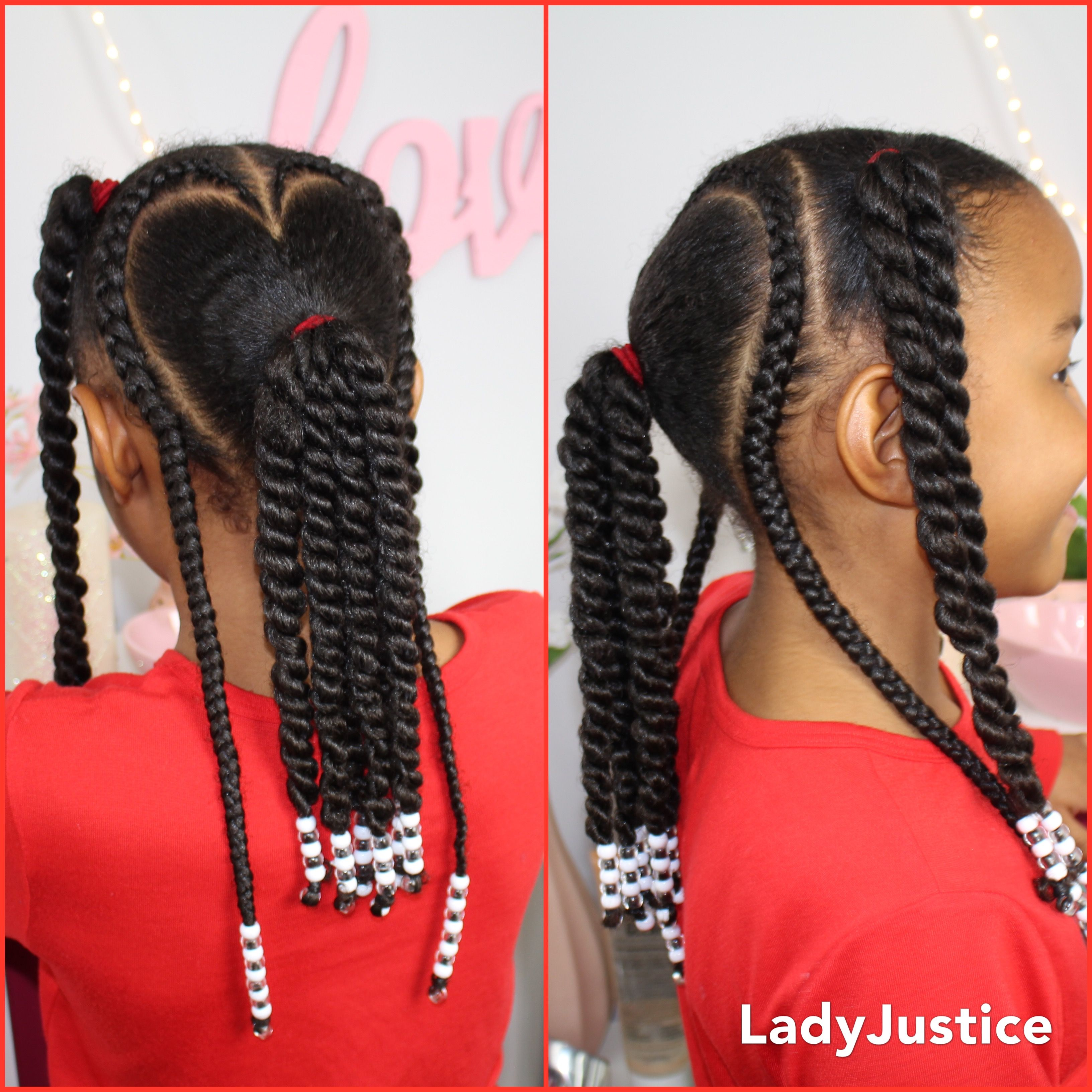 Hearts Beads Braids And Ponytails For Valentine S Day Kids Curls Hair Styles Kids Hairstyles