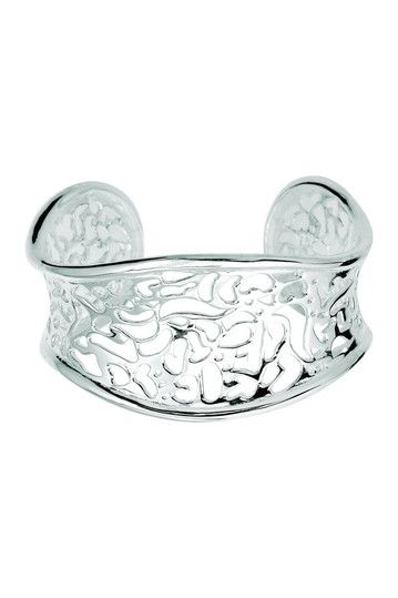 Sterling Silver Carved Out Cuff Bangle