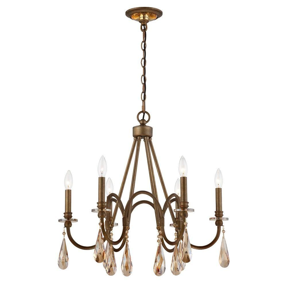 Home Decorators Collection 6 Light Bronze Chandelier With Oversized Crystal Drops 25659 Hbu The Home Depot Bronze Chandelier Ceiling Fan Chandelier Wood Chandelier