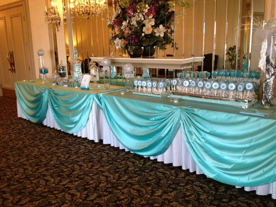 Cookie place cards and candy buffet for a Tiffany Theme Quinceañera. http//
