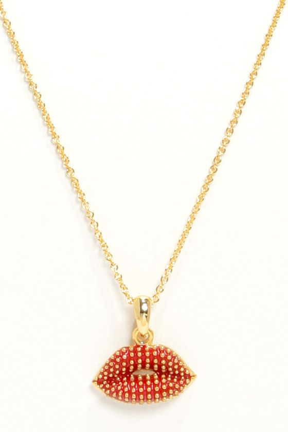 Mark My Words Red Lips Necklace Red Lips Red Gold Studs