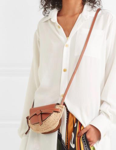 Loewe Gate mini leather and raffia shoulder bag £775   Bags