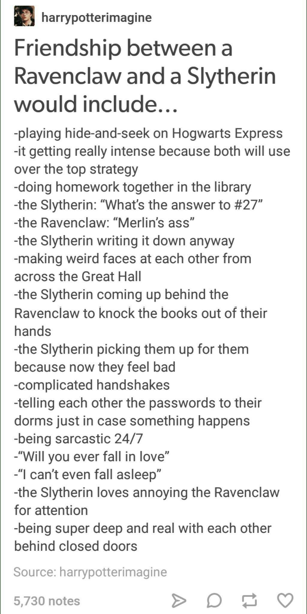 Slytherin Ravenclaw Friendship Harry Potter Houses Harry Potter Universal Ravenclaw