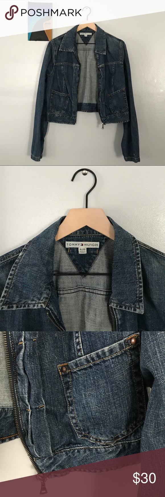 70ce737697358 Women's Tommy Hilfiger Denim Jacket Circa 2003 Vintage Tommy Hilfiger denim  jacket, short and light