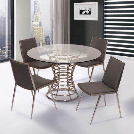 Stainless Steel Dining Room Tables Armen Living Ibiza Brushed Stainless Steel Dining Table With Clear