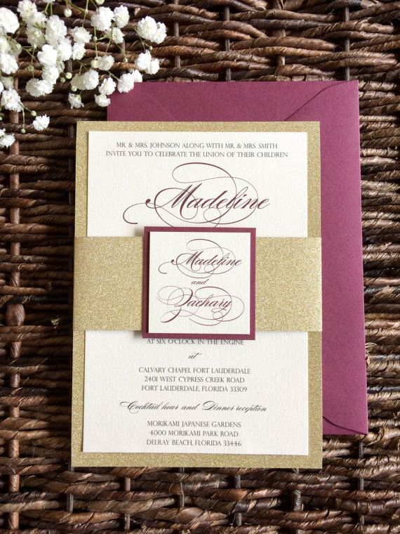 Burgundy And Gold Wedding Invitation With Glitter Belly Band In 2020 Gold Wedding Invitations Glitter Wedding Invitations Gold Glitter Wedding