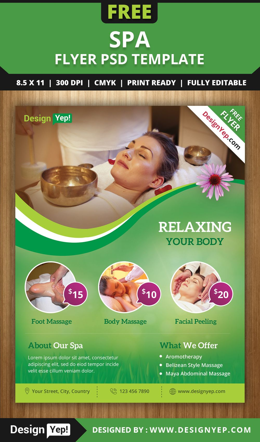 FreeSpaFlyerPSDTemplateDesignyep Cosmetic F L Yer - Free spa brochure templates
